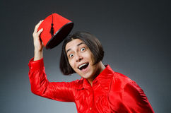 Man wearing red fez hat Royalty Free Stock Photos