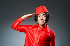 The man wearing red fez hat Stock Photography