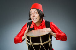 The man wearing red fez hat Royalty Free Stock Photos