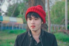 Man Wearing Red Knit Cap Stock Photos