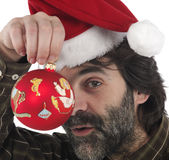 Man wearing red Santa hat Stock Photo