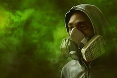 Man wearing respirator mask stock images