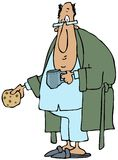 Man wearing robe and pajamas. This illustration depicts a man wearing a bathrobe and pajamas holding a coffee cup and cookie Royalty Free Stock Photography