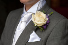 Man wearing a rose buttonhole Stock Images