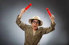 The man wearing safari hat in funny concept Stock Image
