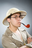 The man wearing safari hat in funny concept Royalty Free Stock Images