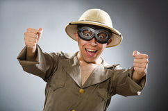 The man wearing safari hat in funny concept Stock Photo