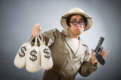 The man wearing safari hat in funny concept Stock Photography