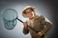 The man wearing safari hat in funny concept. Man wearing safari hat in funny concept royalty free stock photos