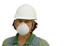 Man wearing safety equipment stock image