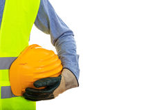 Man wearing safety equipment. Man with safety equipment on white background Stock Images