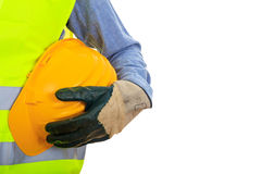 Man wearing safety equipment. Man with safety equipment on white background Stock Photo