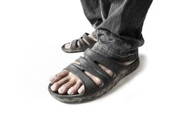 Man Wearing Sandals Royalty Free Stock Photography