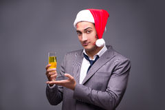 The man wearing santa in funny festive concept Royalty Free Stock Photo