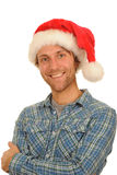 Man wearing Santa hat Royalty Free Stock Images