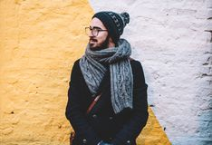 Man wearing scarf and cap Stock Photo