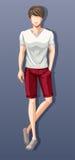 Man wearing shirt and shorts Stock Photos