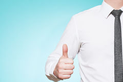 Man wearing shirt and tie thumbs up Stock Images