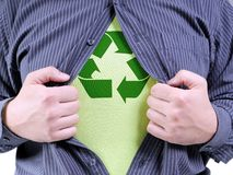Eco superhero transformation Royalty Free Stock Image