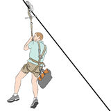 Man wearing shorts on a Zip line Royalty Free Stock Image
