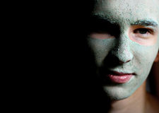Man Wearing Skin Mask. Spa Royalty Free Stock Image