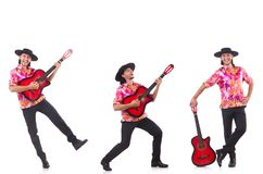 The man wearing sombrero with guitar Royalty Free Stock Photo