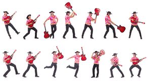 The man wearing sombrero with guitar Stock Photography