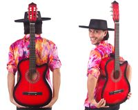 The man wearing sombrero with guitar Stock Images