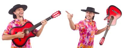The man wearing sombrero with guitar Royalty Free Stock Image
