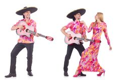 The man wearing sombrero with guitar Royalty Free Stock Images