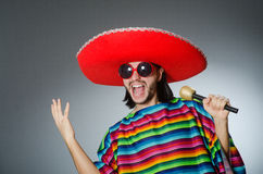 Man wearing sombrero singing song Royalty Free Stock Image