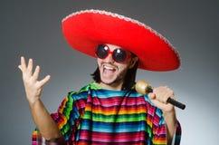 The man wearing sombrero singing song Royalty Free Stock Image