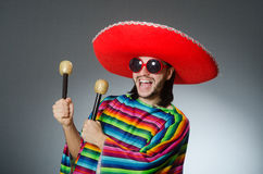 The man wearing sombrero singing song Royalty Free Stock Images
