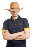 Man wearing straw hat. Isolated on white Royalty Free Stock Image