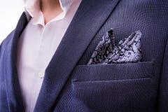Man Wearing Suit Closeup Handkerchief Pocket Paisley Texture Tux Stock Photography