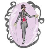 Man wearing a suit and top hat. Inspired by Alice in Wonderland,the mad hatter Stock Images