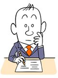 A man wearing a suit writes in the document vector illustration