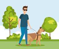 Man wearing sunglases and walking with dog