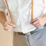 Man wearing suspender Stock Photos