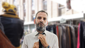 Man wearing a tie at street market Royalty Free Stock Images