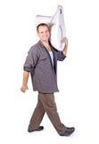 Man wearing a toilet Stock Photo