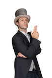 Man wearing a top hat. And dressed for a party Royalty Free Stock Photo