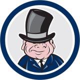 Man Wearing Top Hat Smiling Circle Cartoon Royalty Free Stock Photography