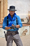 Man Wearing Traditional Cowboy Clothes Stock Images