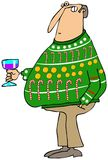 Man wearing an ugly Christmas sweater Royalty Free Stock Photos