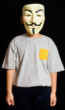 A Man Wearing Vendetta Mask. In Isolated Black Background Royalty Free Stock Photography