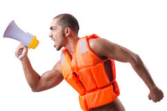 Man wearing vest with loudspeaker Stock Images