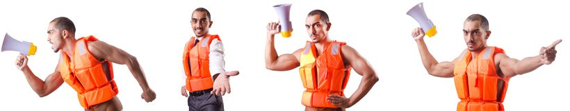 The man wearing vest with loudspeaker Stock Images