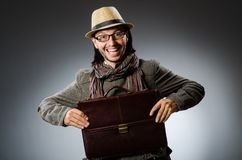 Man wearing vintage hat in funny concept. The man wearing vintage hat in funny concept royalty free stock photo