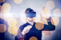 Man wearing virtual glass Royalty Free Stock Photo